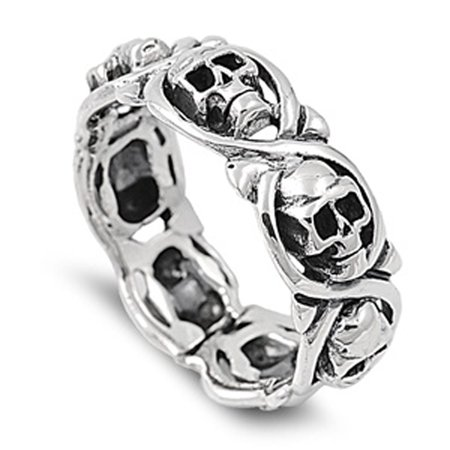 Sterling Silver Women's Mens Biker Infinity Skull Ring ( Sizes 5 6 7 8 9 10 11 12 13 14 ) Cute Band 8mm Rings (Size 11)