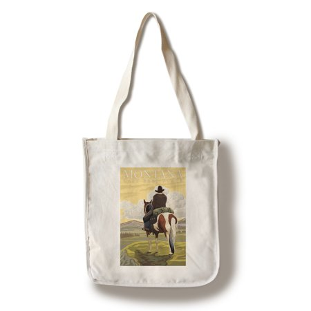 Montana - Last Best Place, Cowboy - Lantern Press Artwork (100% Cotton Tote Bag -