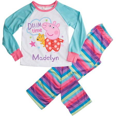 Personalized Dream Time Peppa Pig Girls Youth Pajamas - S, M, L