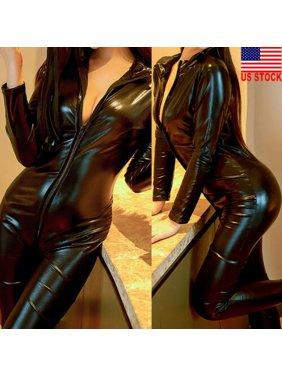 Women Lingerie PU Long Sleeve Bodysuit Jumpsuit Leotard Zip Catsuit Clubwear