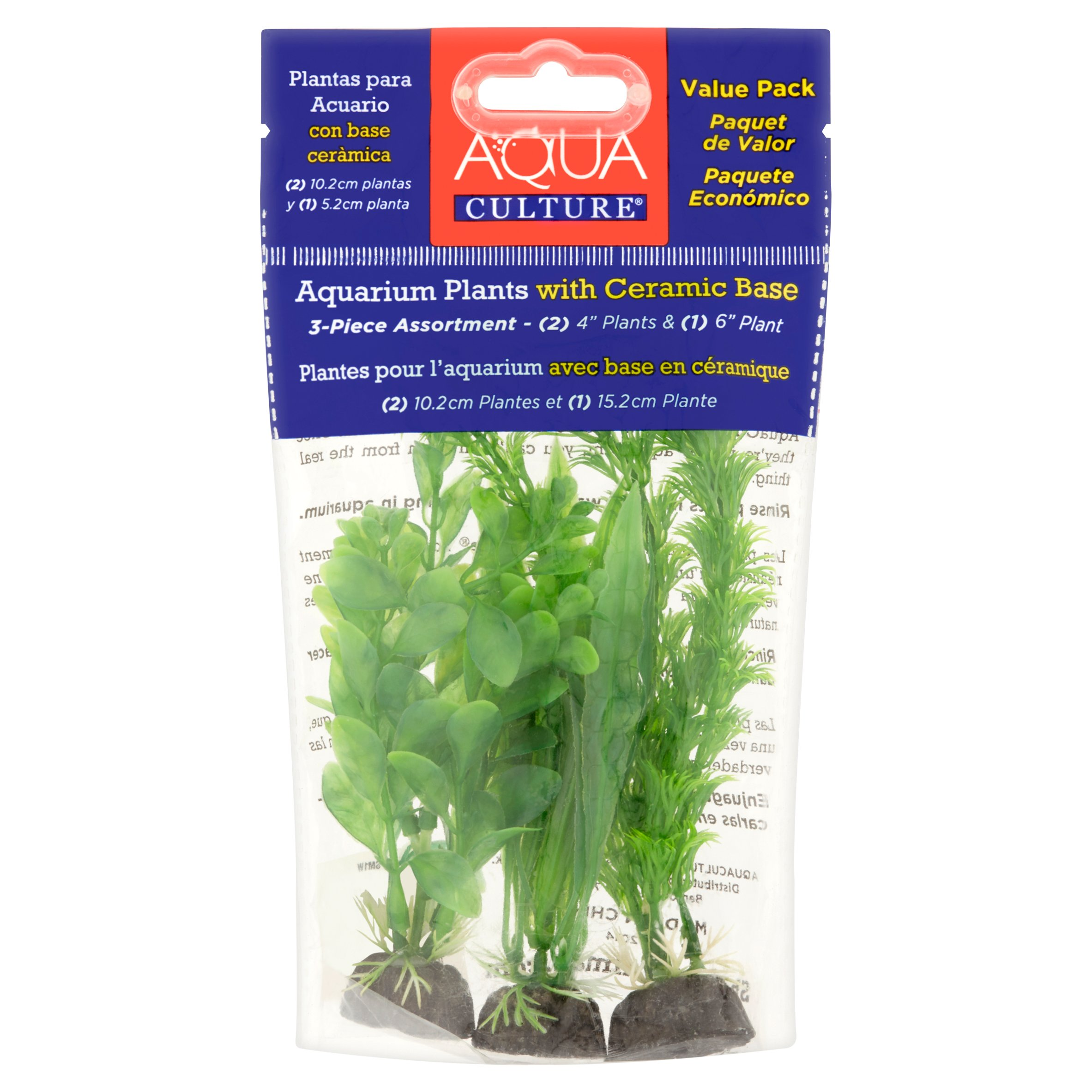 Aqua Culture Aquarium Plant Decorations, Green, 3-Count