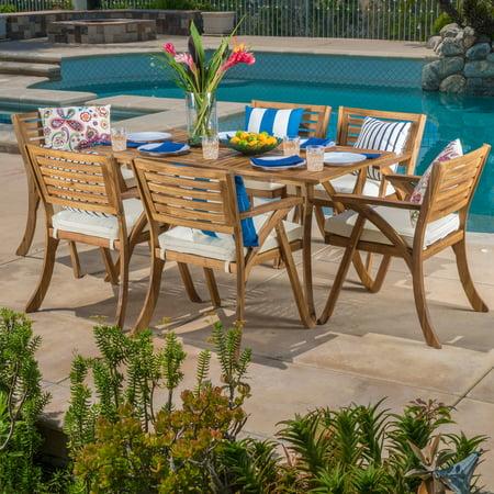 Harvey7 Piece Outdoor Acacia Dining Set with Cushions, Teak Finish, White