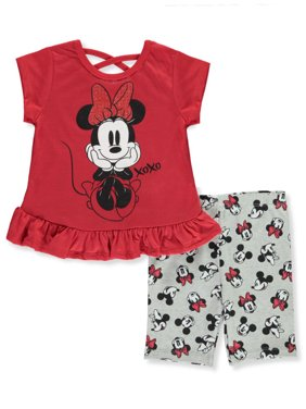 Disney Minnie Mouse Girls' XOXO 2-Piece Bike Shorts Set Outfit