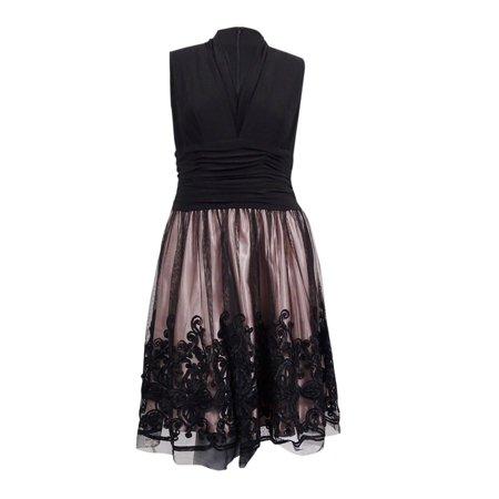 S.L. Fashions Women\'s Plus Size Embellished Lace A-Line Dress