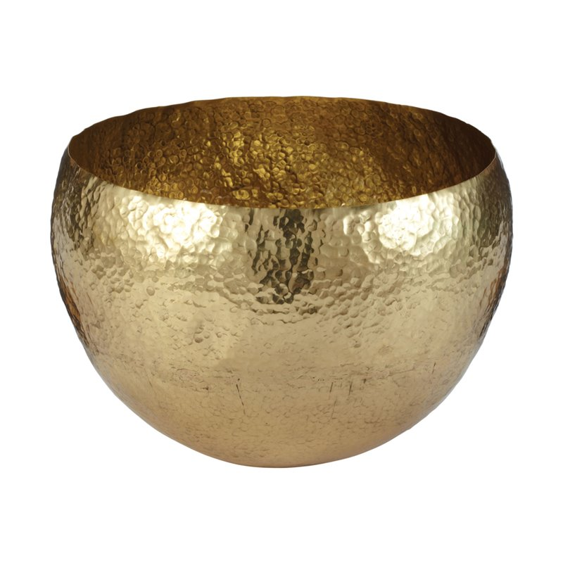 "Dimond Home Gold Hammered 9"" Brass Bowl"