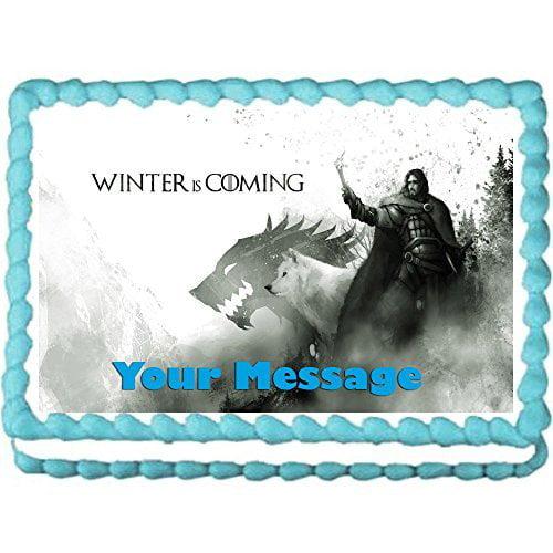 "Gameof Thrones Jon Snow edible birthday cake image cake topper decoration-7.5""x10""(1/4 sheet)"