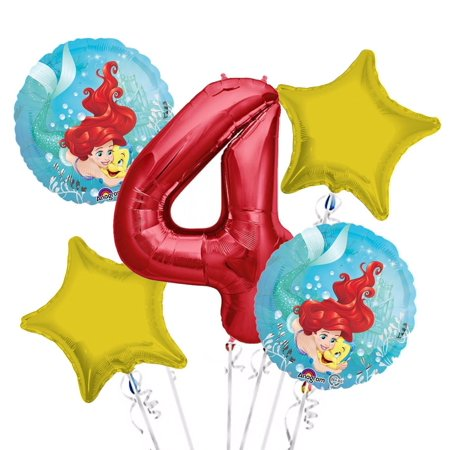 Ariel Balloon Bouquet 4th Birthday 5 pcs - Party Supplies, 1 Giant Number 4 Balloon, 34in By Viva Party (Ariel Balloons)