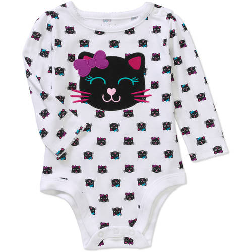 Garanimals Newborn Baby Girls' Long Sleeve Print Screen Bodysuit