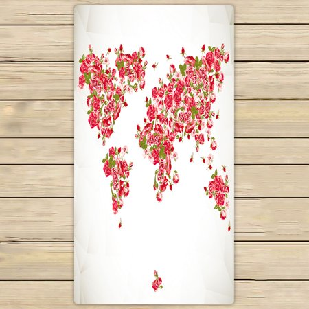YKCG Vintage Floral Rose World Map Red Pink Color Fabric Antique World Map Rose Flower Hand Towel Beach Towels Bath Shower Towel Bath Wrap For Home Outdoor Travel Use 30x56 - 56 Inch Red Velvet