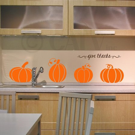 Large Pumpkins (solid) with give thanks vinyl decals wall quote halloween - Qoutes About Halloween