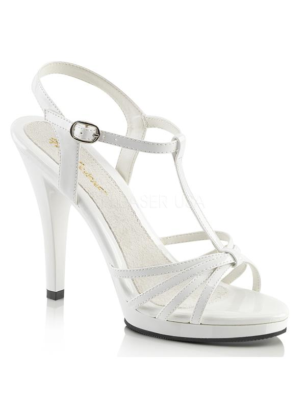 "Wht Pat/Wht Fabulicious Shoes 4 1/2"" Flair Size: 10"
