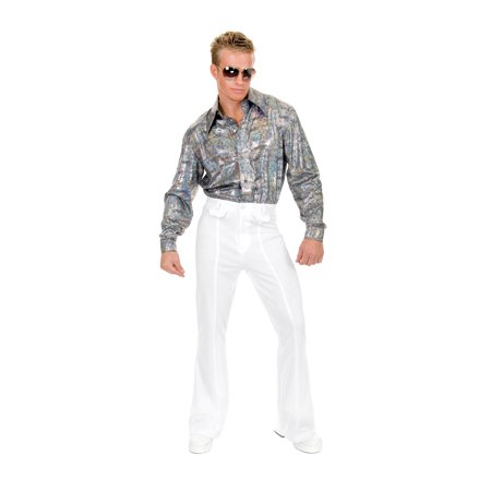 Mens White Disco Pants Halloween Costume - Disco Shoes For Men