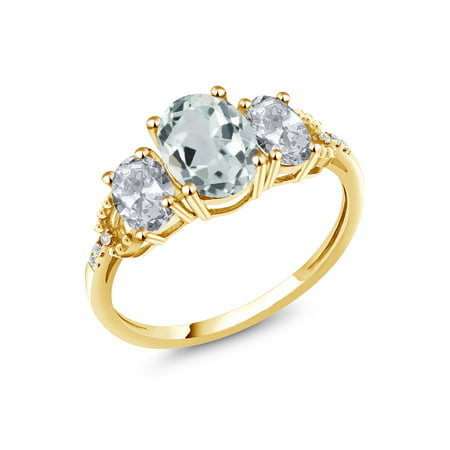 2.44 Ct Oval Sky Blue Aquamarine White Topaz 10K Yellow Gold Ring