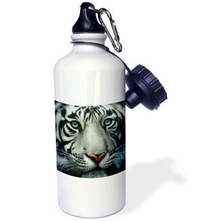 3dRose White Tiger, Sports Water Bottle, 21oz
