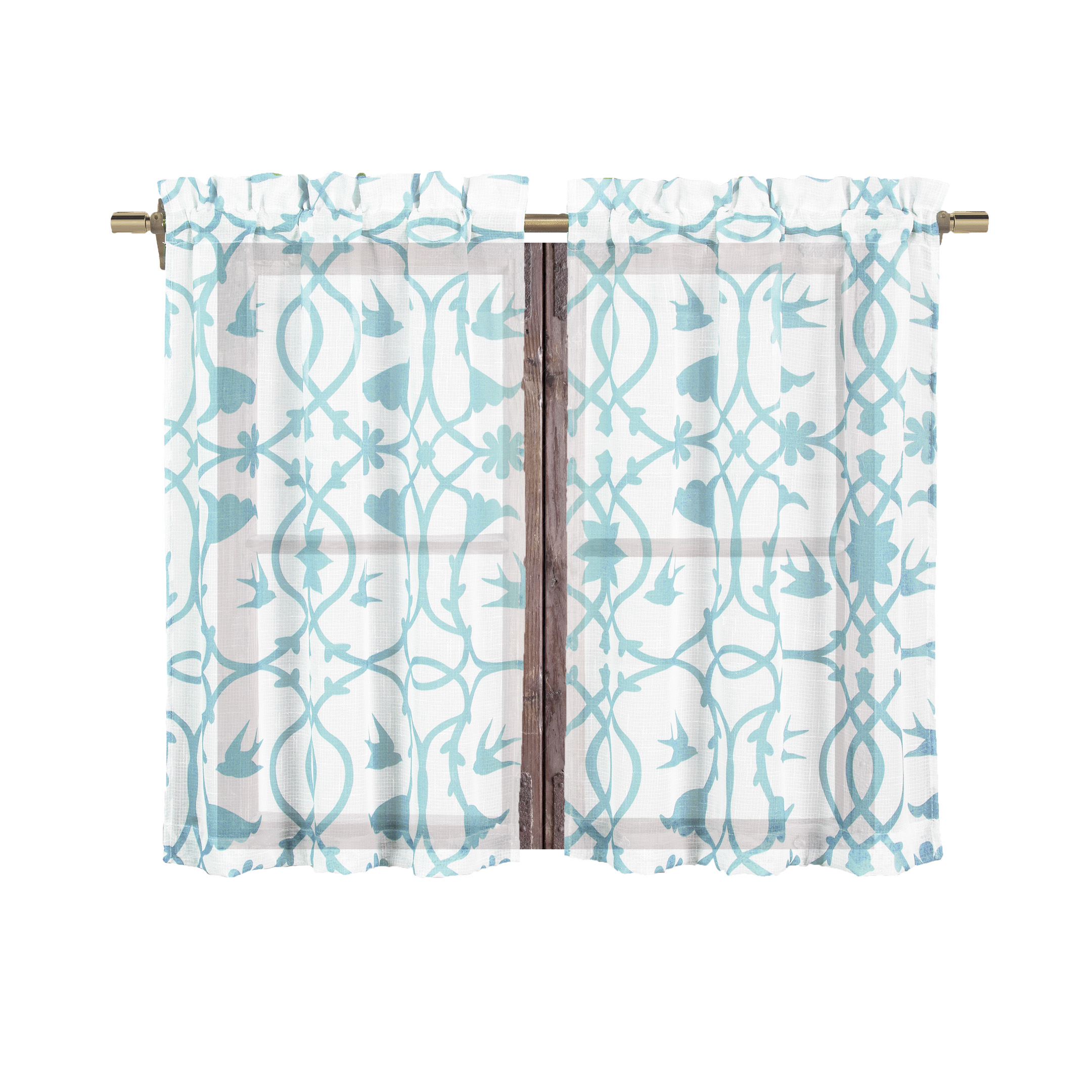Bathroom and More Collection 2 Piece SHEER Window Curtain Tier Set White with Blue Bird, Flower & Vine Design: Tiers Size 24in Long