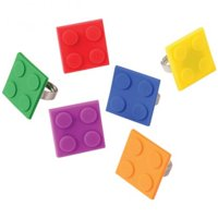 "US Toy Building Block Mania Colorful Square Rings 1"" Party Favors, 12 Pack"