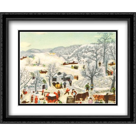 Sugaring Off, 1955 2x Matted 33x27 Large Black Ornate Framed Art Print by Grandma Moses