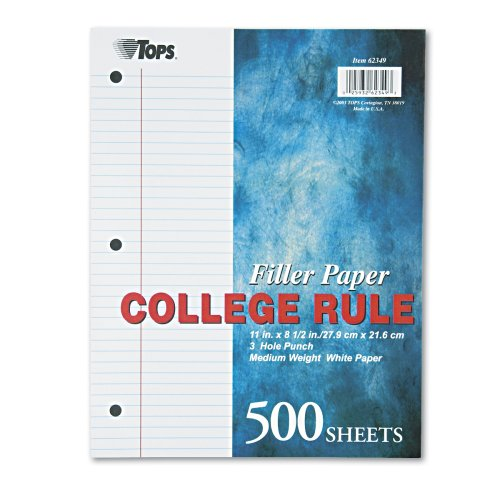 TOPS Notebook Filler Paper College Ruled 11 x 8.5 Inches 3-Hole Punched Medium Weight White 500 Sheets/Pack (62349)