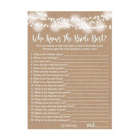 25 Kraft Rustic How Well Do You Know The Bride Bridal Wedding Shower or Bachelorette Party Game, Who Knows The Bride Best Does The Groom? Couples Guessing Question Set of -