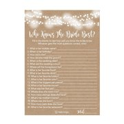 25 Kraft Rustic How Well Do You Know The Bride Bridal Wedding Shower or Bachelorette Party Game, Who Knows The Bride Best Does The Groom? Couples Guessing Question Set of Cards Pack Printed Engagement