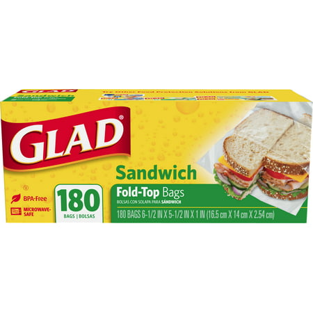 Glad Food Storage Sandwich Bags - Fold Top - 180 Count Sandwich Delivery Bag