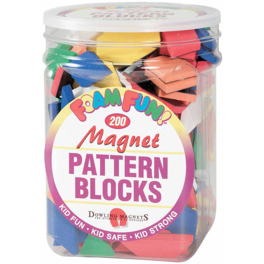 Dowling Miner Magnetics Magnetic Foam Pattern Blocks, Set of 200, Assorted Colors and... by Dowling Magnets