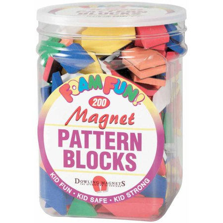 Dowling Miner Magnetics Magnetic Foam Pattern Blocks, Set of 200, Assorted Colors and Shapes