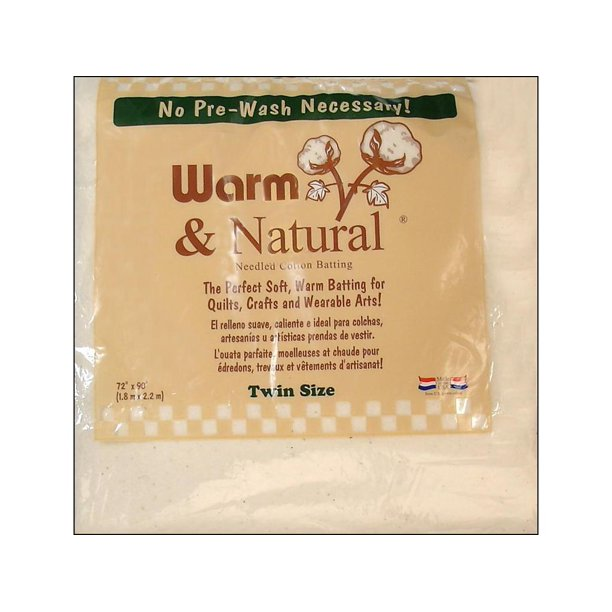 "Warm & Natural Twin 72"" x 90"" Cotton Batting, 1 Each"
