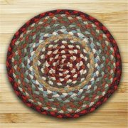 Earth Rugs 46-417 Round Miniature Swatch, Thistle Green and Country Red