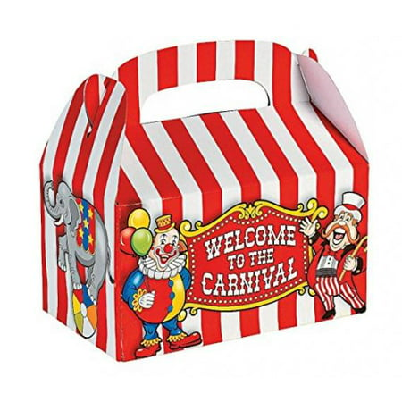 Fun Express Under the Big Top Empty Favor Boxes Party Accessory, 1 Dozen