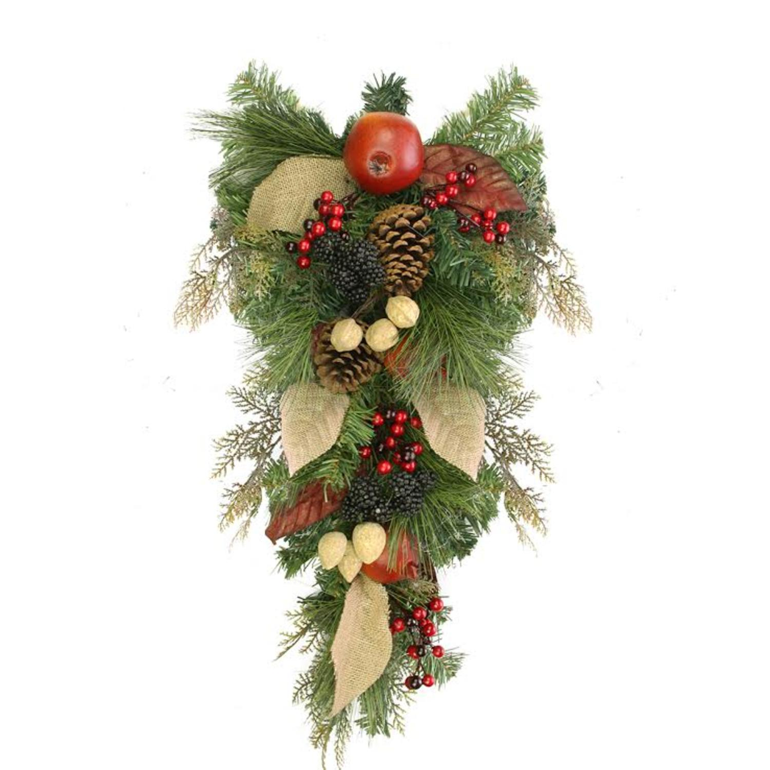 "24"" Autumn Harvest Mixed Pine Berry and Nut Thanksgiving Fall Teardrop Swag - Unlit"