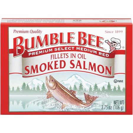 (2 Pack) Bumble Bee Premium Smoked Coho Salmon in Oil, 3.75oz Can Alder Wood Smoked Salmon