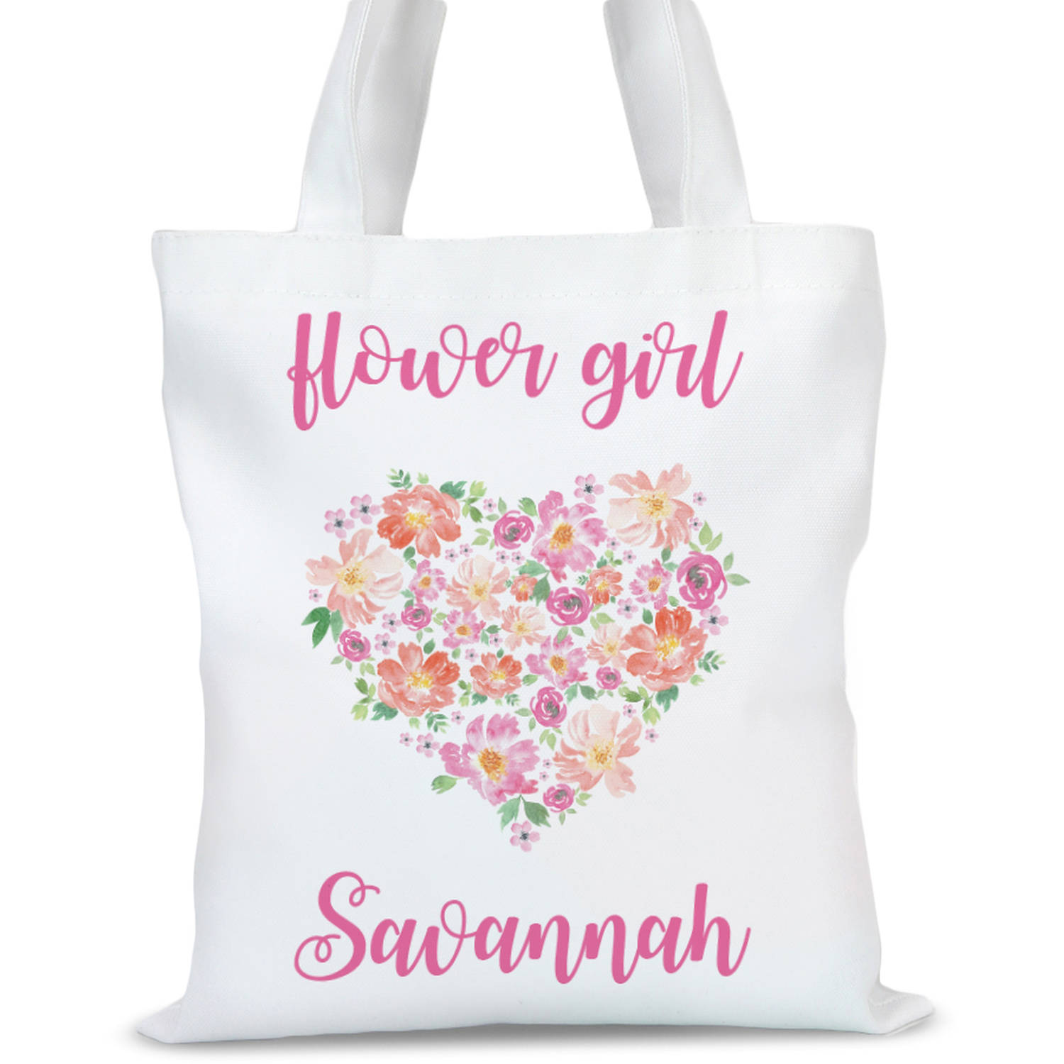 """Flower Girl Personalized Tote Bag, Sizes 11"""" x 11.75"""" and 15"""" x 16.25"""""""
