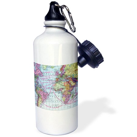 3dRose Colorful Vintage World Map - distance calculations between countries on lines - south america africa, Sports Water Bottle, 21oz