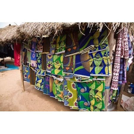 West Africa Benin Textiles in thatched market Canvas Art - Aldo Pavan DanitaDelimont (35 x 23)