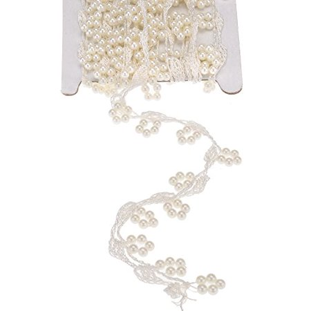 Ttoyouu Faux Ivory Pearl Lique Fringe Trim For Wedding Dress Costume Sewing Clothing Supplies Bridal