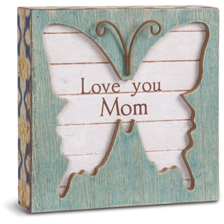 "Pavilion - Mom 4.5"" x 4.5"" Butterfly Plaque"