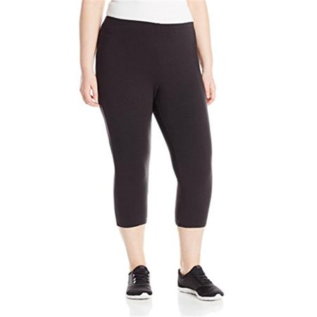 90563241873 Womens Plus-Size Stretch Jersey Capri Legging - Black, (Black Stretch Capris)