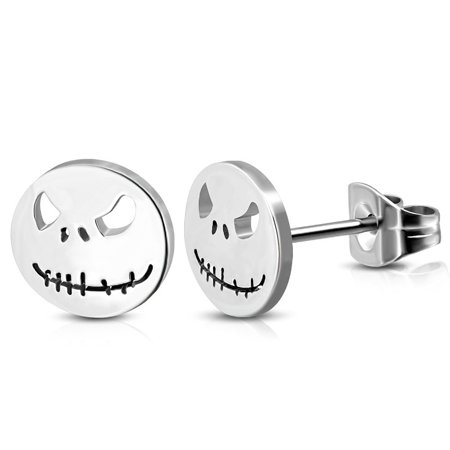 10mm Stainless Steel Jack Skellington Mask Round Circle Stud Earring pair