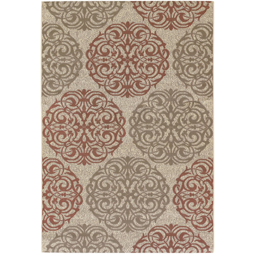 Couristan Five Seasons Montecito Polypropylene Indoor/Outdoor Rug, Cream/Coral Red