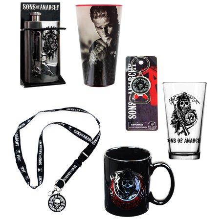 Sons Of Anarchy Bundle  Lanyard  Flask  Mug  Bottle Opener  Pint Glasses