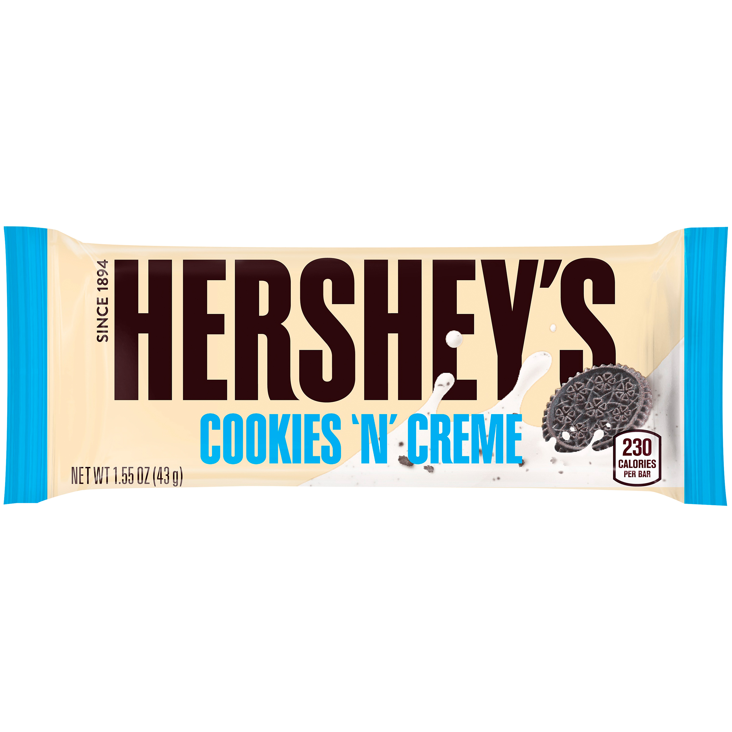 HERSHEY'S Cookies 'n' Creme Candy Bar, 1.55 oz