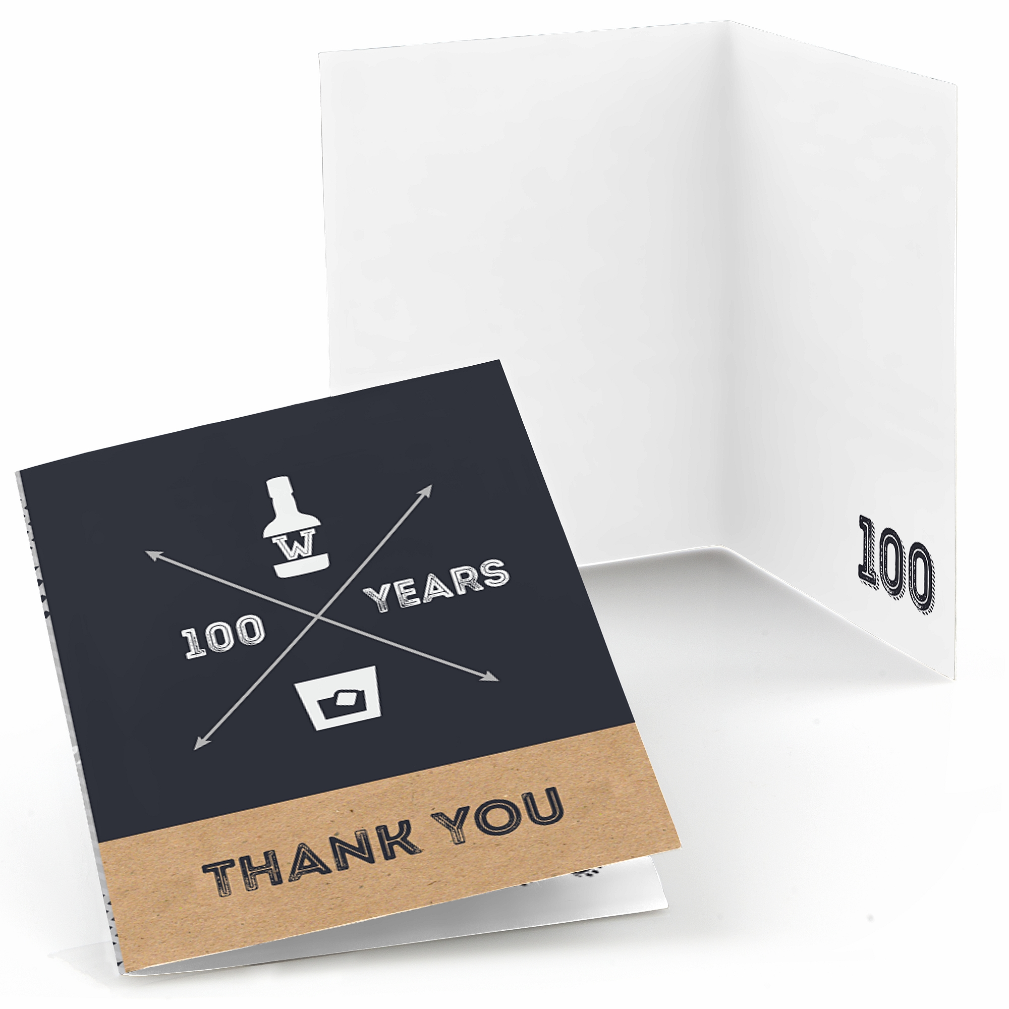 100th Milestone Birthday - Dashingly Aged to Perfection - Birthday Party Thank You Cards (8 count)