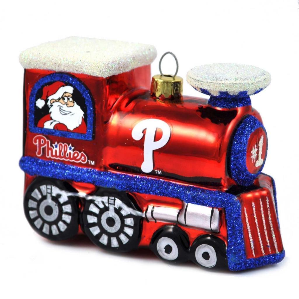 Philadelphia Phillies Official MLB 3 inch x 2.5 inch  Blown Glass Train Christmas Ornament by Topperscot