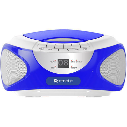 Ematic CD Boombox with AM FM Radio, Bluetooth Audio and Speaker Phone by Ematic