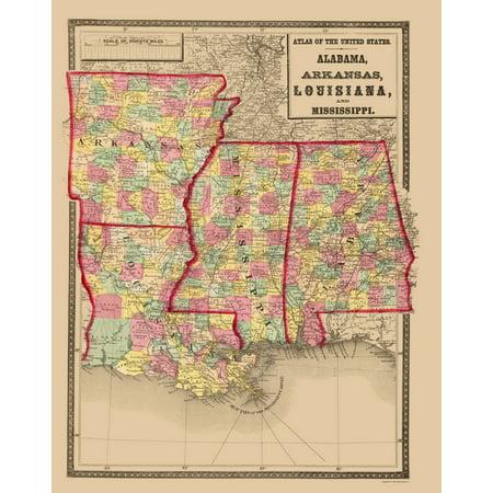 Arkansas And Louisiana Map.Old State Map Alabama Arkansas Louisiana Mississippi 1873 23