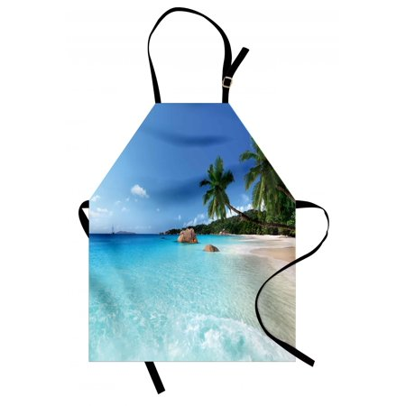 Ocean Apron Anse Lazio Beach at Praslin Island Surfing Theme Beach Scenic View Travel, Unisex Kitchen Bib Apron with Adjustable Neck for Cooking Baking Gardening, Turquoise Blue Green, by Ambesonne