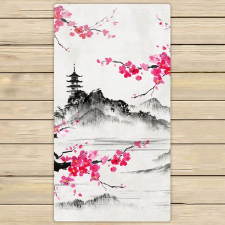YKCG Spring Pink Sakura Branches Lake and Hills Landscape Hand Towel Beach Towels Bath Shower Towel Bath Wrap For Home Outdoor Travel Use 30x56 inches
