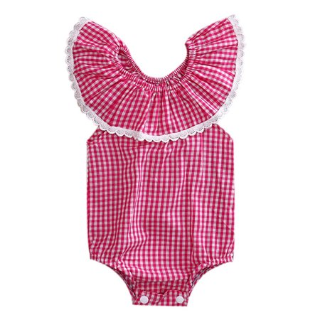 StylesILove Baby Girl Plaid Print Lace Lotus Collar Off Shoulder Bodysuit Romper (100/18-24 Months)](Plaid Onesie)