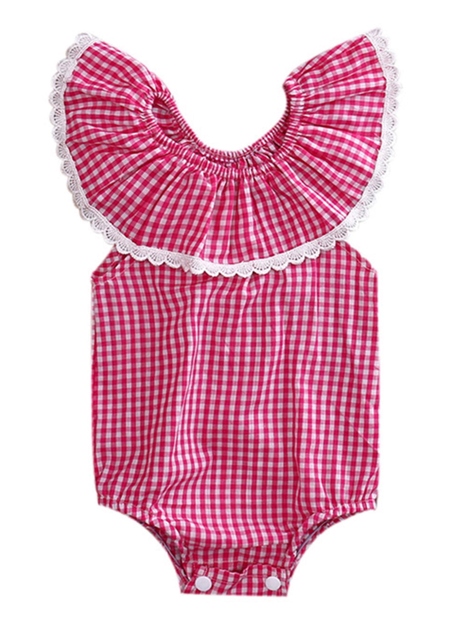 StylesILove Baby Girl Plaid Print Lace Lotus Collar Off Shoulder Bodysuit Romper (100/18-24 Months)